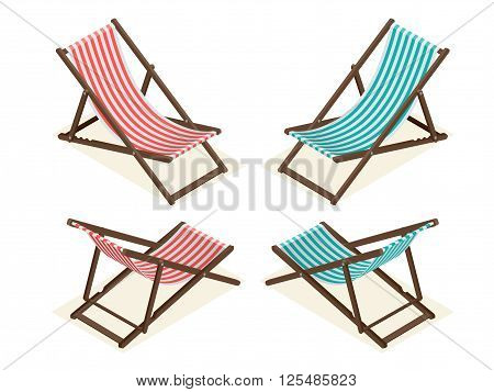 Beach chairs isolated on white background. Wooden beach chaise lounge Flat 3d isometric vector illustration