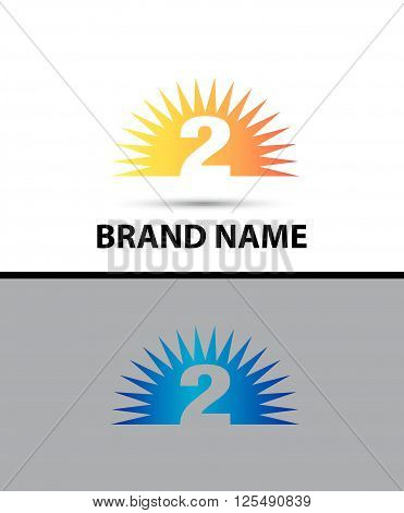 Number two 2 logo design icon abstract template