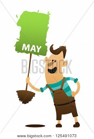cartoon man holding a tree and wants to put