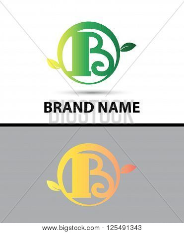 Leaf icon Logo Letter B design template abstract
