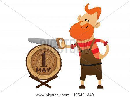 red man sawing a log saw illustration