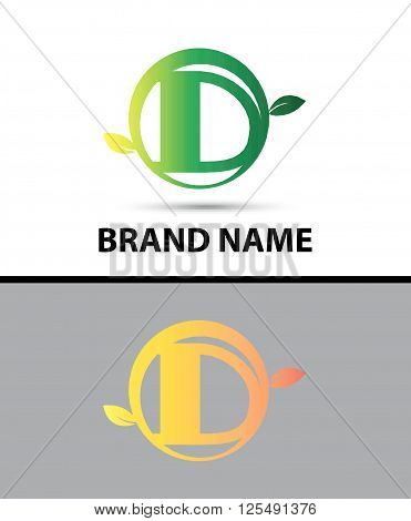 Leaf icon Logo Letter D design template abstract