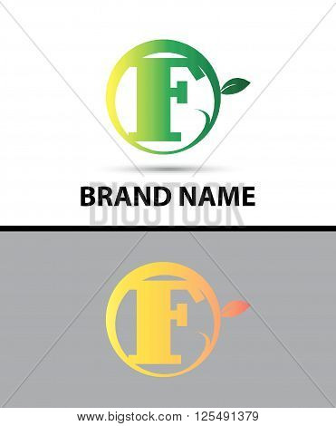 Leaf icon Logo Letter F design template abstract