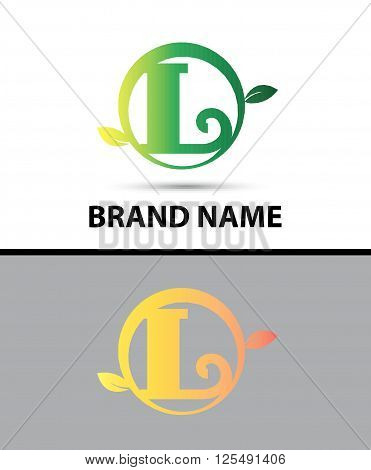 Leaf icon Logo Letter L design template abstract