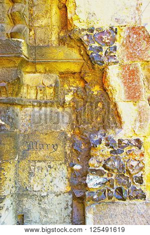 Engraving on Canterbury Cathedral Walls in Canterbury in Kent of England. It is one of the most famous cathedrals in England. It is the Archbishop of Canterbury Cathedral.