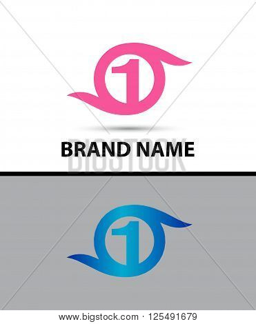 Vector sign spherical number 1 design template