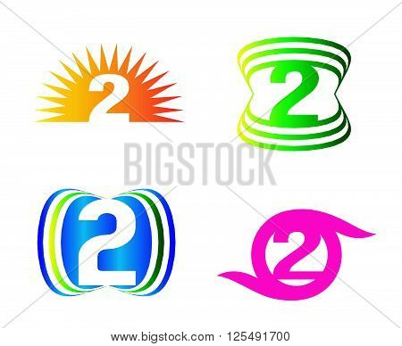 Abstract icons for number 2 logo template