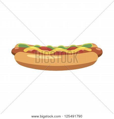 Hotdog icon in cartoon style isolated on white background