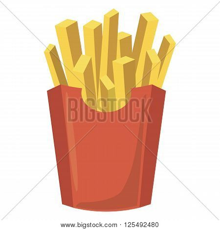 French fries potato in red paper box icon in cartoon style isolated on white background. Fast food menu