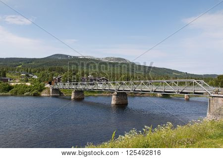 Bridge crossing the river at Trysil Norway