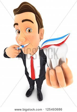 3d businessman brushing his teeth and holding tooth isolated white background