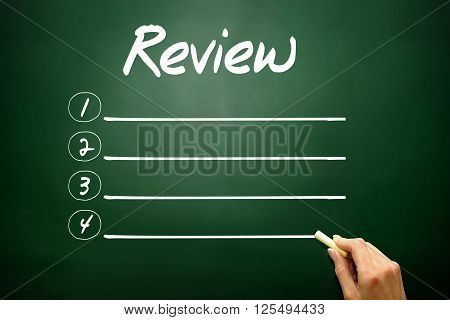Hand Drawn Review Blank List, Business Concept On Blackboard..