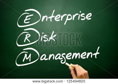 Hand Drawn Enterprise Risk Management (erm), Business Concept Acronym On Blackboard..