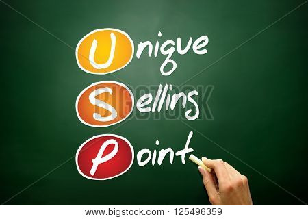 Unique Selling Point (USP) business concept acronym on blackboard poster