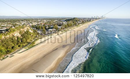 Aerial view over the Gold Coast beaches at sunrise from Miami Headland
