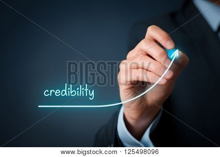 Corporate credibility improvement concept. Businessman (o PR specialist) plan to improve credibility of his company.
