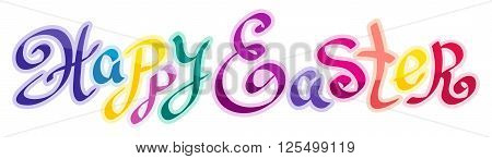Happy Easter Calligraphy greeting card with beautiful typography handwritten colorful text