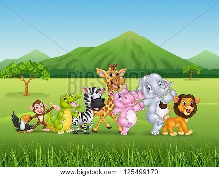 Vector illustration of Wild animal cartoon in forest background