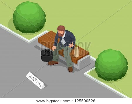 Homeless. Dirty homeless man holding sign asking for help. Flat 3d isometric vector illustration. Social problem concept