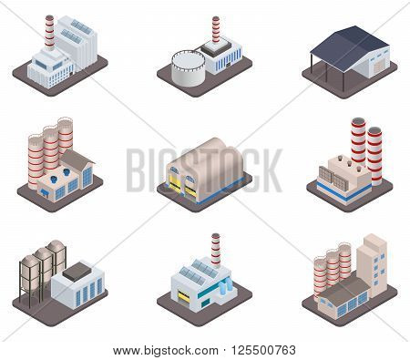 Industrial buldings - Simple vector isometric factory plants and factories icon set