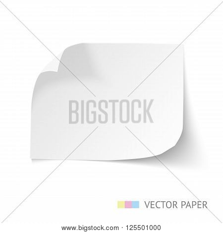Sheet of paper with curl corners isolated on white. Paper sheet for banner. White vector paper, realistic illustration