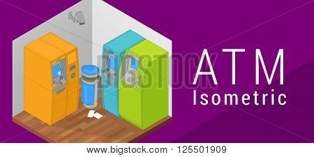 ATM isometric flat vector 3d illustration. Indoor ATM machine. Flat style illustration. EPS 10 vector. ATM secured by security camera. Auto teller machine. Flat vector illustration