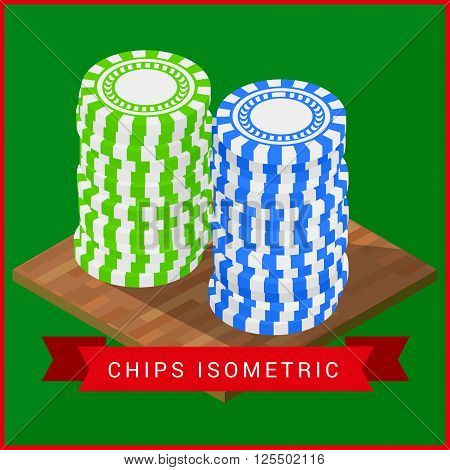 Stacked pocker Chips isometric flat vector 3d illustration. Casino chips symbol. Gambling chips vector. Gambling illustration with poker chips
