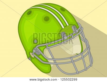 American Football Helmet isometric flat vector 3d illustration. American football helmet, football sport icon with long shadow. football flat design. Green vector football helmet.