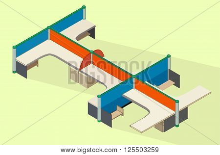 Office furniture workspace isometric flat vector 3d illustration. Empty cubicle workplace. Office desk isometric view.