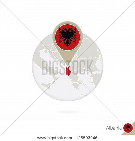 Albania Map And Flag In Circle. Map Of Albania, Albania Flag Pin. Map Of Albania In The Style Of The