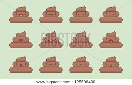 Vector poop set. Set of vector kawaii poop emoticons. Isolated on green background.