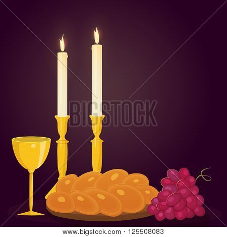 Illustration of Shabbat candles kiddush cup and challah.