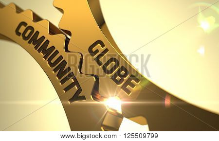 Globe Community - Technical Design. Globe Community Golden Metallic Cog Gears. Globe Community - Illustration with Lens Flare. Globe Community on Mechanism of Golden Metallic Cogwheels. 3D Render.