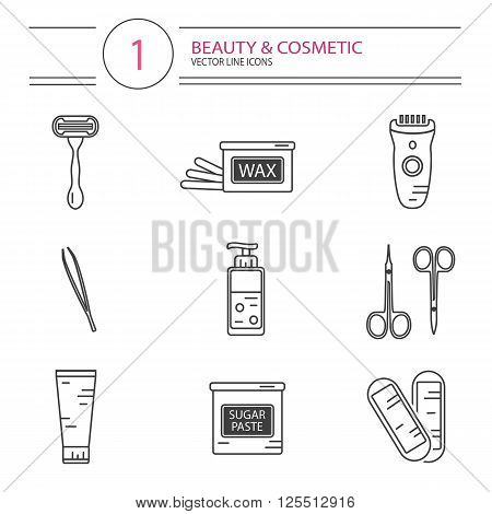 Vector modern line style cosmetics icons set of epilation. Bottle of wax, bottle of sugaring, scissors, wax strips, shaving razor, eyebrow tweezers, clipper.