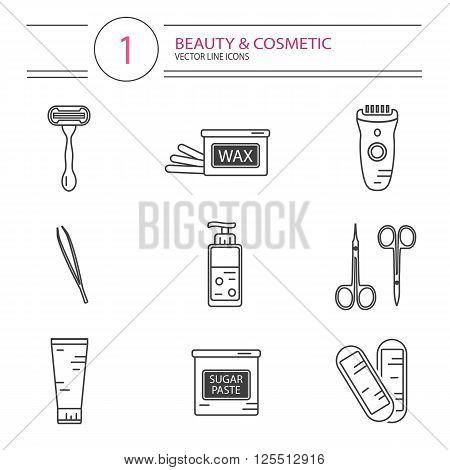Vector modern line style cosmetics icons set of epilation. Bottle of wax, bottle of sugaring, scissors, wax strips, shaving razor, eyebrow tweezers, clipper.
