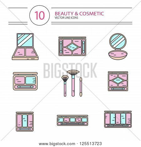 Vector modern line style color icons set of beauty, makeup and cosmetics products. Different types of shadow palette, compact powder, blush or concealer with brushes. Isolated on white background.