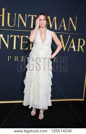 LOS ANGELES - APR 11:  Emily Blunt at the The Huntsman Winter's War American Premiere at the Village Theater on April 11, 2016 in Westwood, CA
