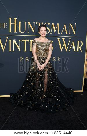 LOS ANGELES - APR 11:  Halsey, Ashley Nicolette Frangipane at the The Huntsman Winter's War American Premiere at the Village Theater on April 11, 2016 in Westwood, CA