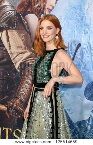 LOS ANGELES - APR 11:  Jessica Chastain at the The Huntsman Winter's War American Premiere at the Village Theater on April 11, 2016 in Westwood, CA
