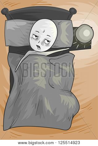 Illustration of a Lazy Man Lying in Bed