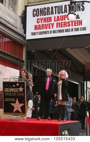 LOS ANGELES - APR 11: Marissa Jaret Winokur, Harvey Fierstein, Cyndi Lauper at the Harvey Fierstein and Cyndi Lauper Hollywood WOF Ceremony at the Pantages Theater on April 11, 2016 in Los Angeles, CA