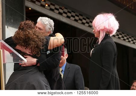 LOS ANGELES - APR 11: Harvey Fierstein, Marissa Jaret Winokur, Cyndi Lauper at the Harvey Fierstein and Cyndi Lauper Hollywood WOF Ceremony at the Pantages Theater on April 11, 2016 in Los Angeles, CA