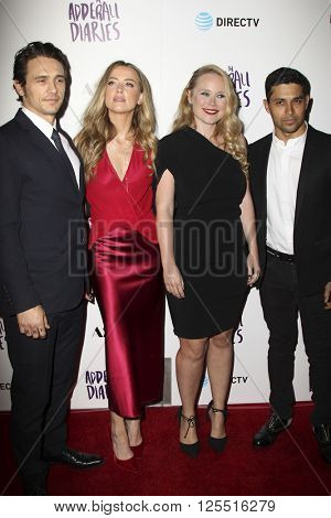 LOS ANGELES - APR 12:  James Franco, Amber Heard, Pamela Romanowsky, Wilmer Valderrama at the The Adderall Diaires Premiere Series at the ArcLight Hollywood on April 12, 2016 in Los Angeles, CA