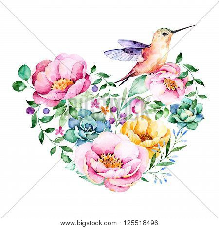 Watercolor heart with roses, flower, foliage, succulent plant, branches, hummingbird