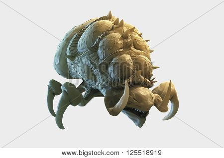 3D generated illustration of zerg baneling front view isolated