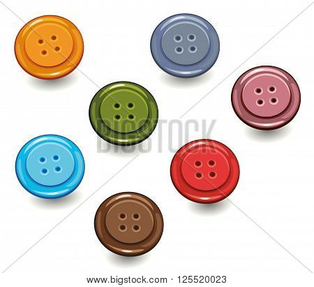 Colorful buttons, handicrafts, vector set design elements.