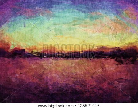 horizon painting, seascape painting impressionism, sunset landscape painting