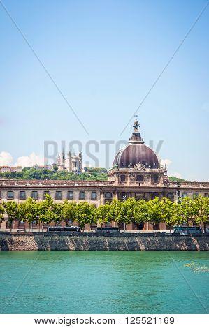 LYON, FRANCE - JUNE 7: Hotel de Dieu with dome and Rhone river Lyon France. June 2015