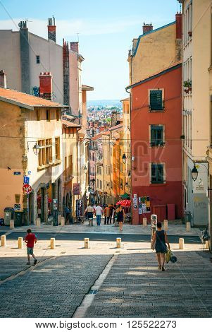 LYON FRANCE - JUNE 5: People walking along the street in causal summer day, Lyon France in June 2015