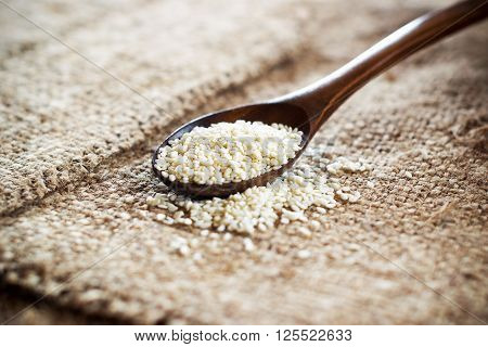 White Sesame Seeds In A Wooden Spoon On A Linen Tablecloth .